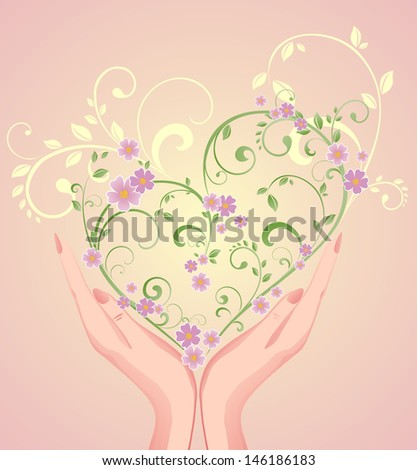 Beautiful greeting frame. Raster copy of vector image - stock photo