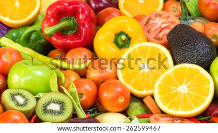 Beautiful group fruits and vegetables organics - stock photo