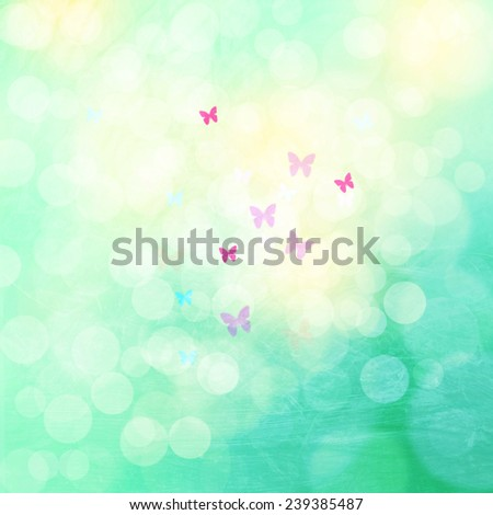 Beautiful grunge and vintage color spring bokeh abstract illustration with blurry butterflies. - stock photo
