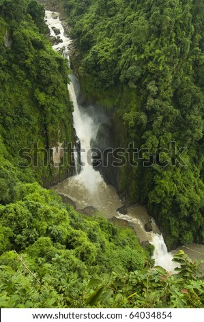 Beautiful Haew Narok Waterfall in Khao Yai, Unesco Heritage site - stock photo