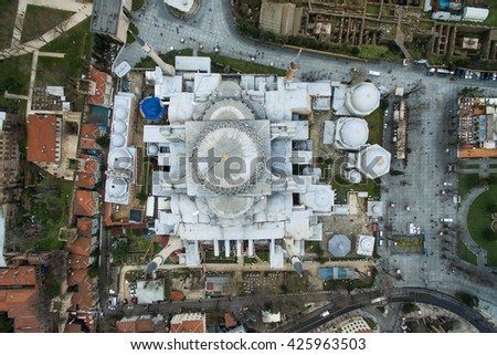 Beautiful Hagia Sophia Museum Aerial View - stock photo