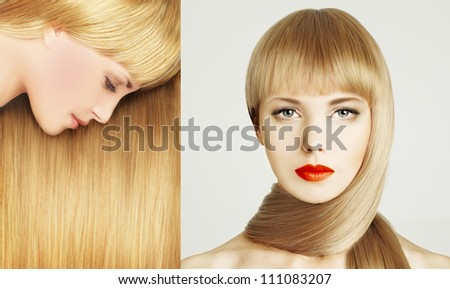 Beautiful hair - woman with make-up - stock photo