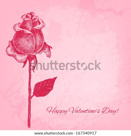 Beautiful hand drawn rose. Raster valentine background - stock photo