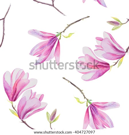 Beautiful hand painted watercolor seamless pattern texture of pink blooming magnolia tree - stock photo