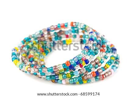 Beautiful handmade jewelry isolated on white background - stock photo