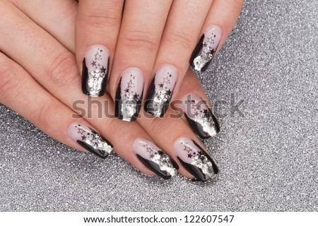 beautiful hands with fresh manicured stylish nails - stock photo