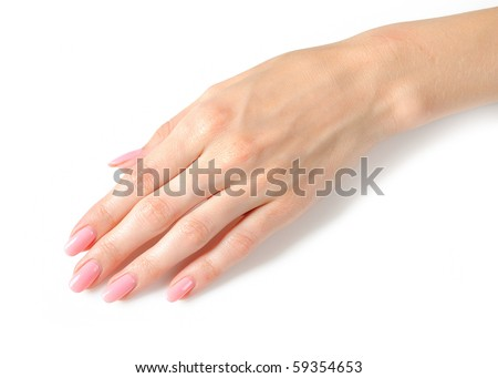 Beautiful hands with perfect nail pink manicure. isolated on white background - stock photo