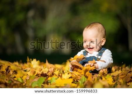Beautiful happy baby in autumn nature - sitting in leaves - stock photo