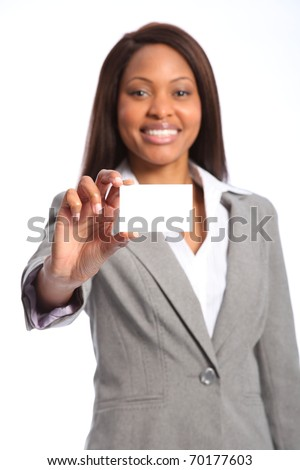 Beautiful happy black woman with business card - stock photo