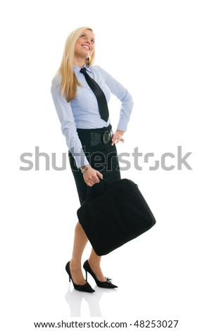 Beautiful happy businesswomen with briefcase. Isolated on white - stock photo