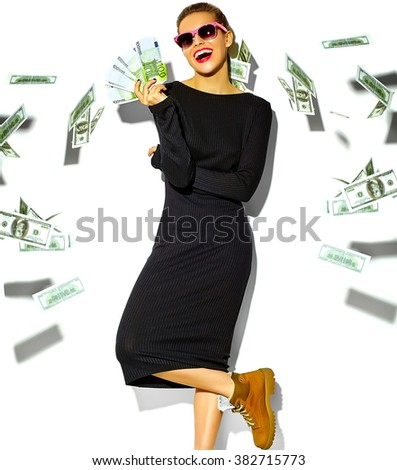 beautiful happy cute smiling brunette woman girl in casual black hipster summer dress clothes with red lips holding euro banknotes and flying dollars  isolated on white  - stock photo