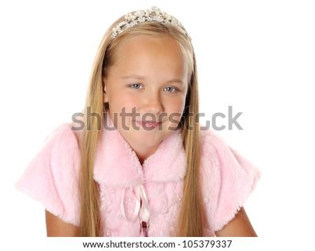 Beautiful happy girl princess, isolated on white - stock photo