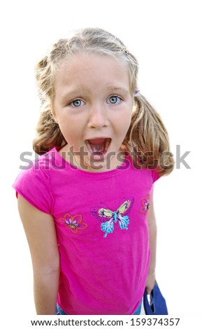 beautiful happy girl screaming expression isolated on white background - stock photo