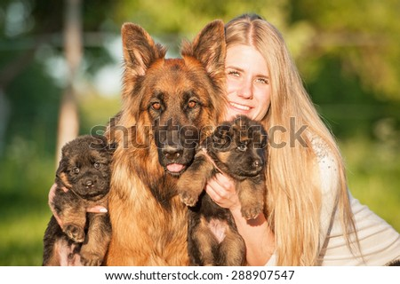 Beautiful happy girl with a family of german shepherd dogs - stock photo