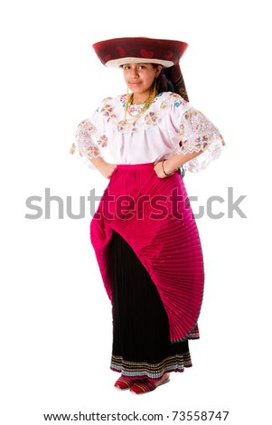 Beautiful happy Indian girl from Andes, Ecuador, Peru or Bolivia with folklore clothes and hat standing, isolated. - stock photo
