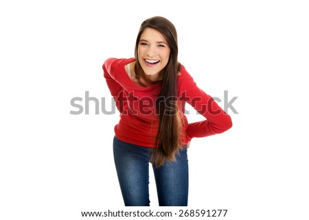Beautiful happy laughing young student woman. - stock photo