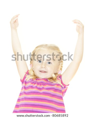 Beautiful Happy Little Blond Girl with hands up - stock photo