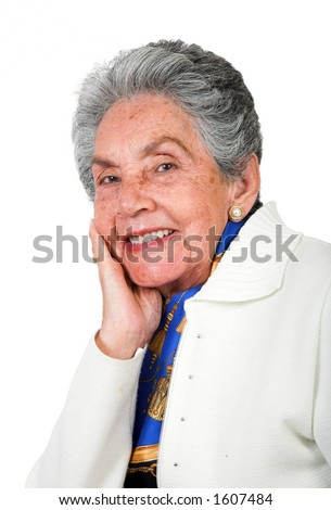 beautiful happy old lady over a white background - stock photo