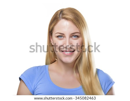 Beautiful happy portrait of an young adult smiling blonde woman - isolated on white - stock photo