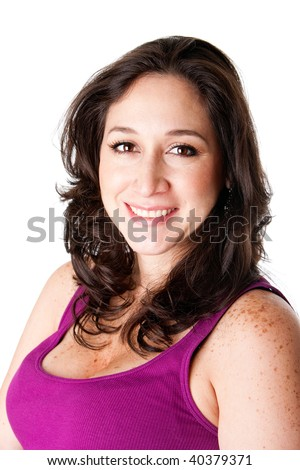 Beautiful happy smiling face of a Caucasian Hispanic Latina brunette woman in a fuschia purple halter top and freckles and long brown hair, isolated. - stock photo