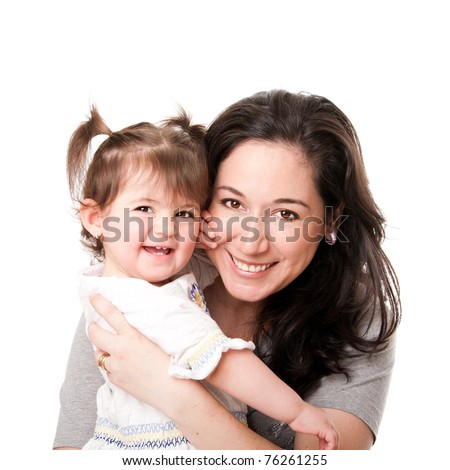 Beautiful happy smiling mother and baby toddler daughter family together, isolated. - stock photo