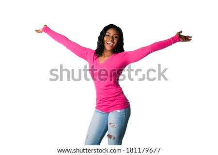 Beautiful happy smiling young woman with open arms welcoming celebrating cheering, isolated. - stock photo