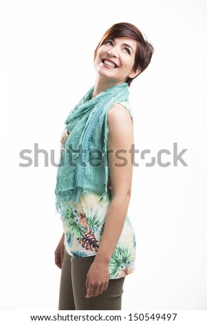Beautiful happy woman smiling, isolated over white background - stock photo