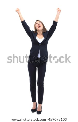 Beautiful happy young business woman isolated on white backgroun - stock photo
