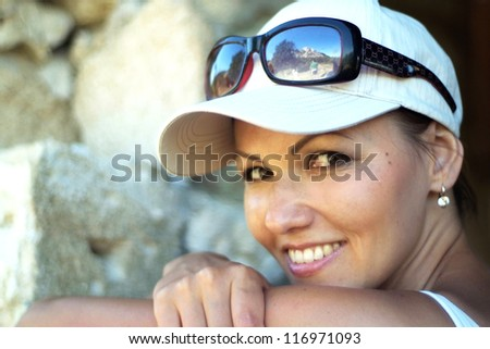 beautiful happy young girl n the summer park - stock photo