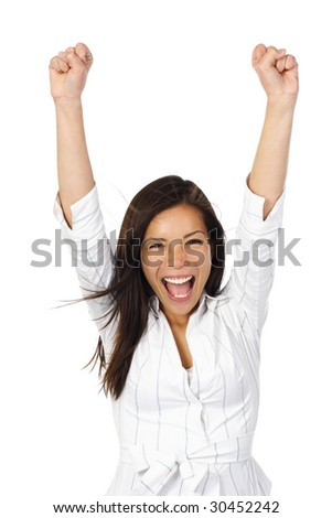 Beautiful happy young woman with her arms in the air. Isolated on white. - stock photo