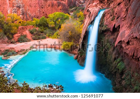 Beautiful Havasu Falls,Supai, Arizona - stock photo