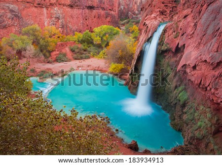 Beautiful Havasu Falls, Supai, Arizona, United States - stock photo