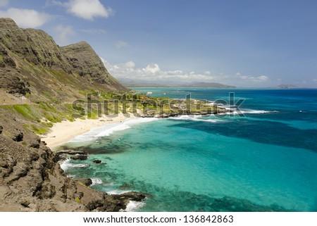 Beautiful Hawaiian landscape, Makapuu beach. - stock photo