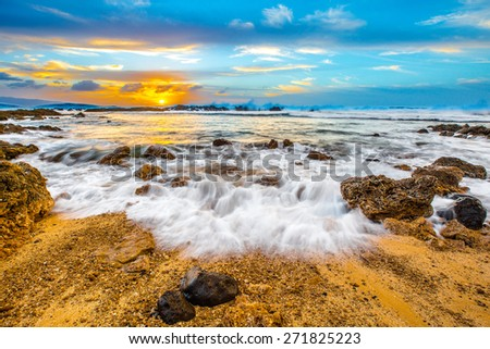 Beautiful Hawaiian Sunset from Shark's Cove - stock photo