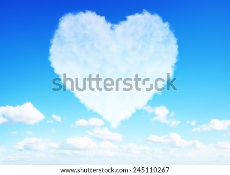 Beautiful Heart clouds representing love for valentine's day - stock photo