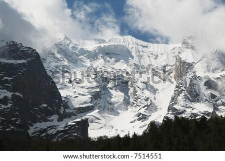 Beautiful high mountain in Himalayan - stock photo