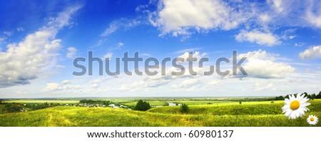 beautiful hill valley, pano - stock photo