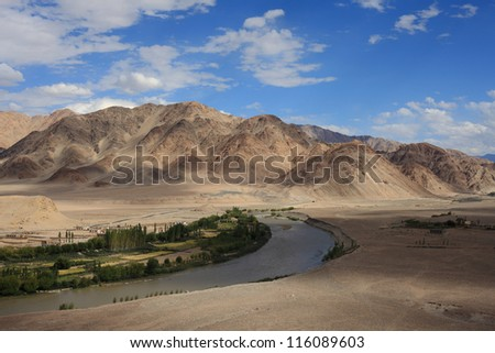Beautiful Himalayan mountains and valley  in Ladakh, India - stock photo