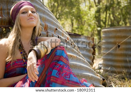 beautiful hippie girl in the country - stock photo