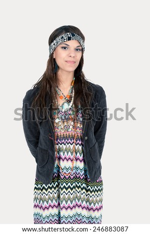Beautiful hippie girl posing - stock photo