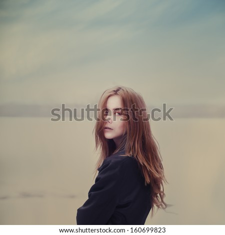 beautiful hipster girl outdoors - stock photo