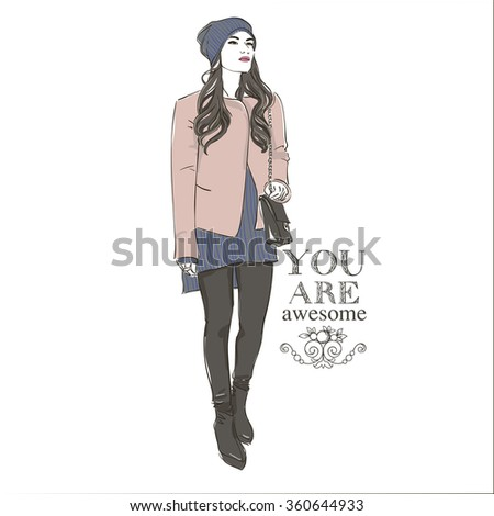Beautiful hipster young  women in a fashion pink jacket in cap and knitted sweater. Hand drawn illustration. - stock photo