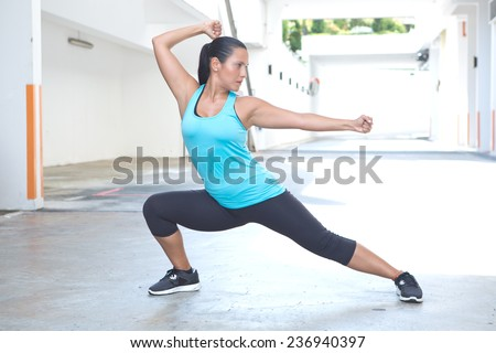 Beautiful hispanic sport woman demonstrating tai chi stance, outdoor. Concept of healthy lifestyle. - stock photo