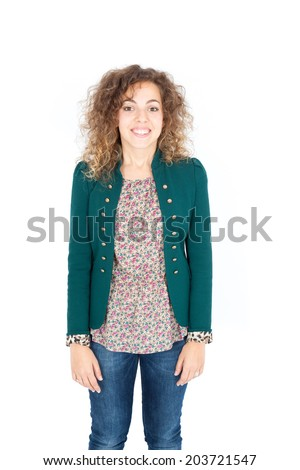 Beautiful Hispanic woman doing different expressions in different sets of clothes: love - stock photo