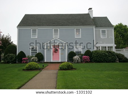 beautiful home and landscape - stock photo