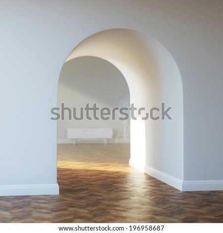 Beautiful home entrance with wood floor. interior with arch. - stock photo