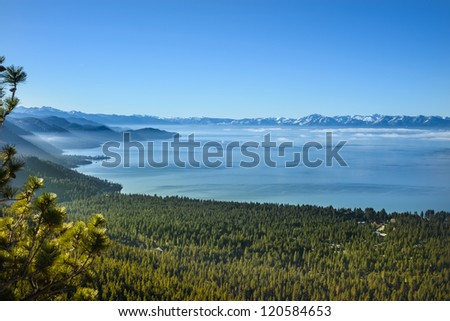 Beautiful horizontal shot of natural clear sky snowy mountain landscape - stock photo