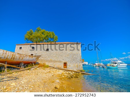 beautiful house by the sea in Spetses island in Greece - stock photo