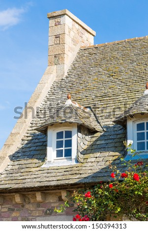 Beautiful house in french brittany typical - stock photo