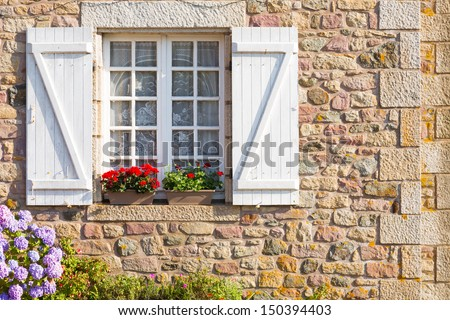 Beautiful house in french brittany typical.  - stock photo